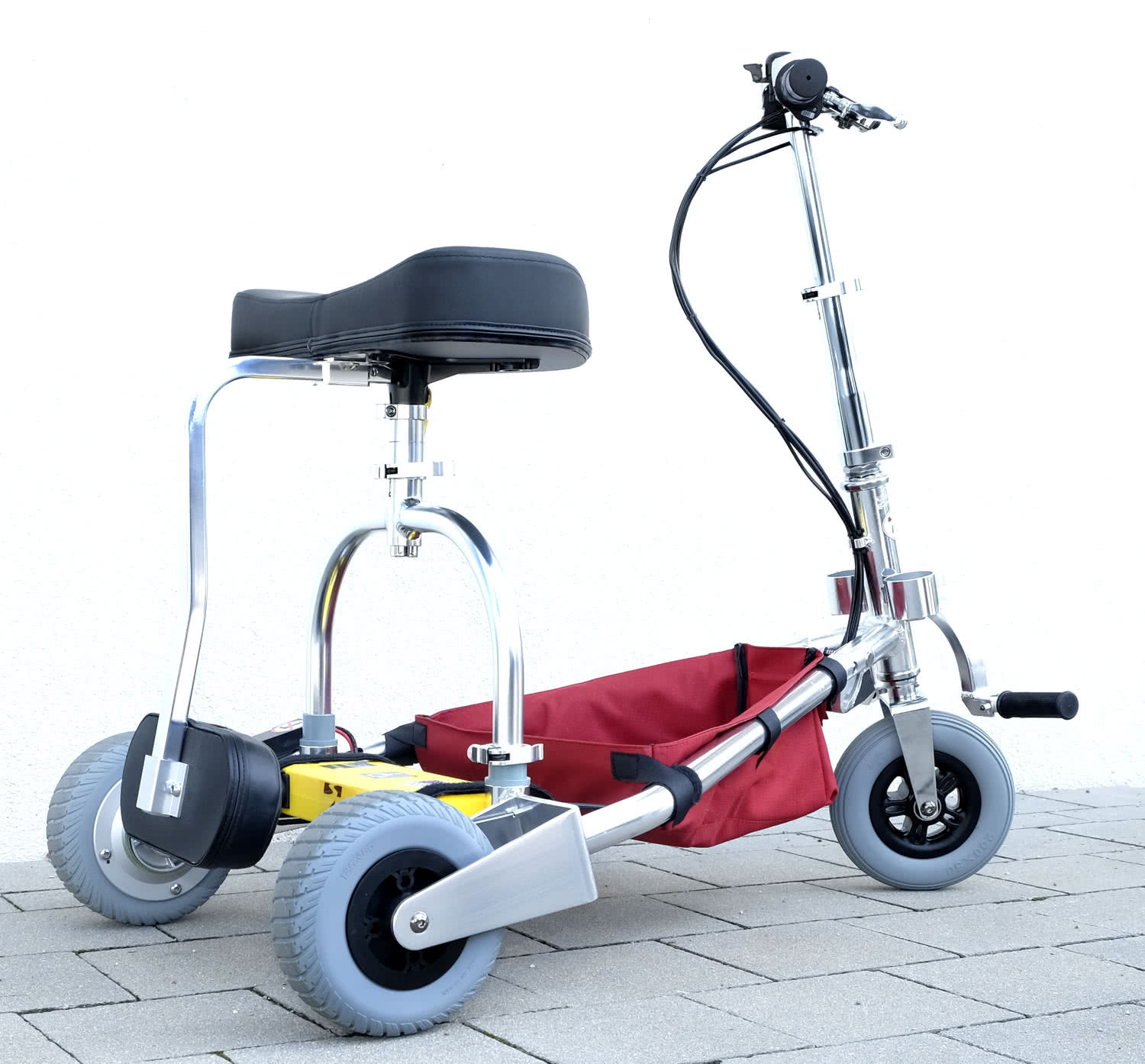 TravelScoot with backrest attachment pointing downwards