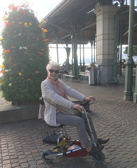 E. Rinsoz from Switzerland with her TravelScoot.