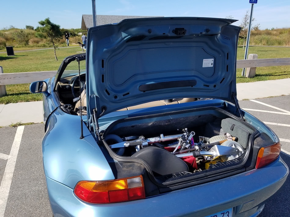 TravelScoot fits in the small trunk of a roadster Z3