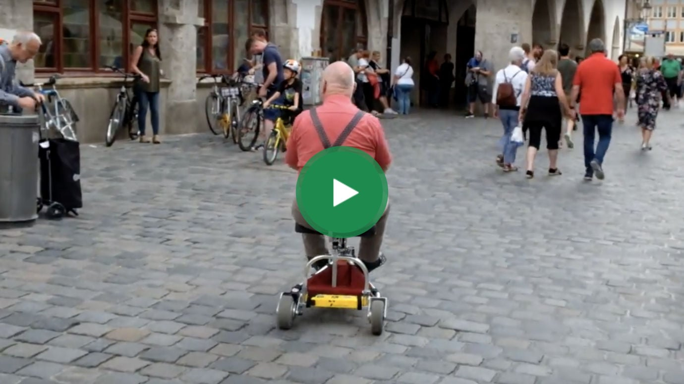 TravelScoot on cobble stone