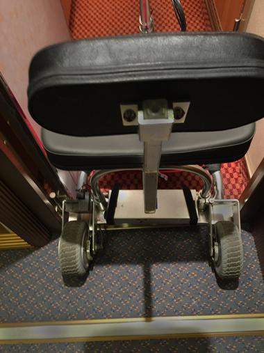 Mobility Scooter in the cabin door (58 cm) of a cruise ship